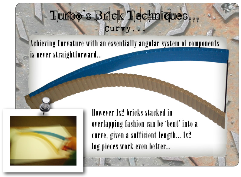 Turbo's Brick Techniques... Curvy... Achieving Curvature with an essentially angular system of components is never straightforward... However 1x2 bricks stacked in overlapping fashion can be 'bent' into a curve, given a sufficient length... 1x2 log pieces work even better...
